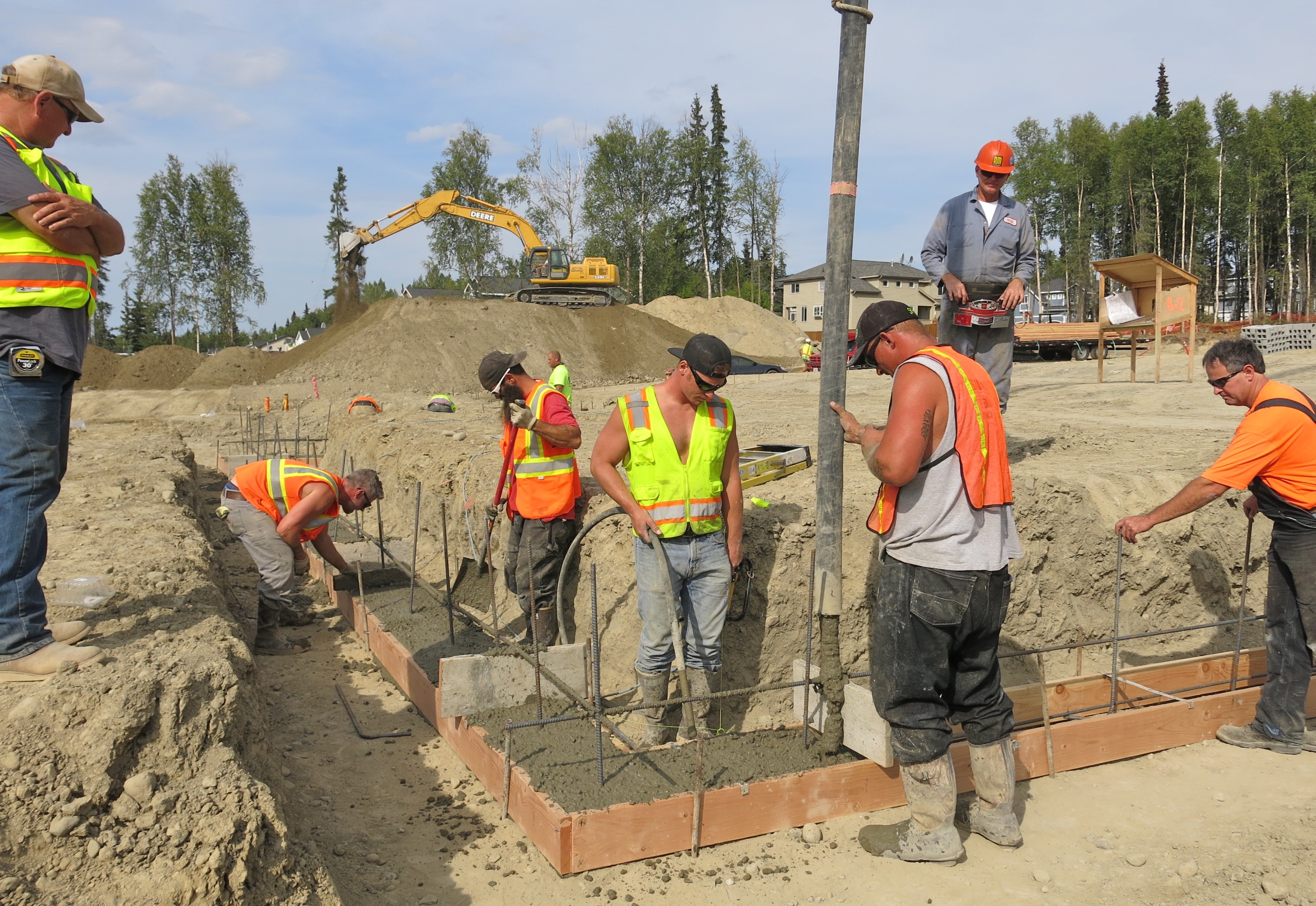 Pouring concrete, Aug 6, 2015