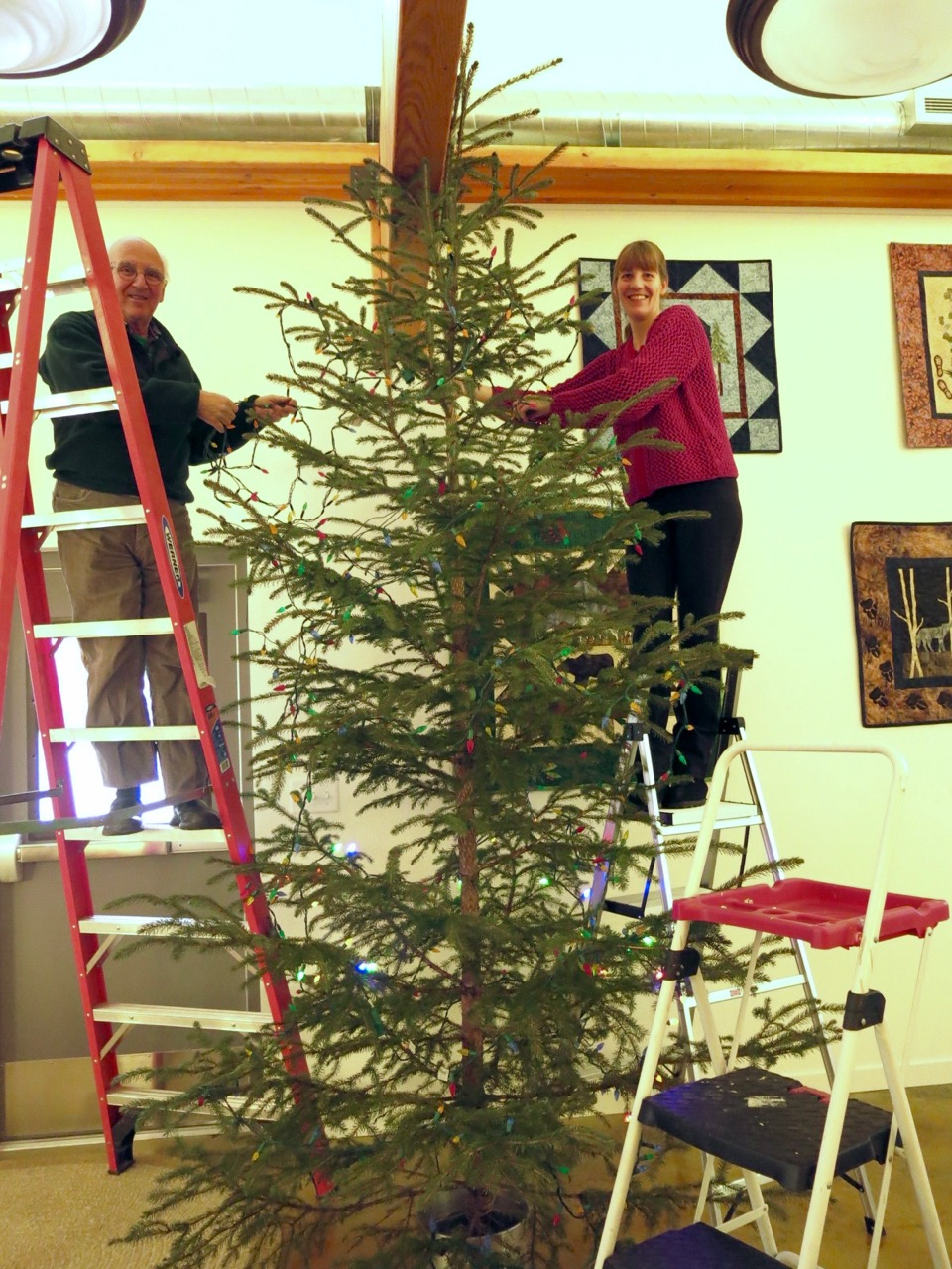 Coho RRC XMas tree light hang